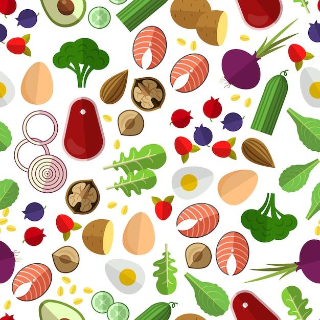 Схема здорового питания. картофельный огурец, свекла и яйца, орехи и рыба Бесплатные векторы