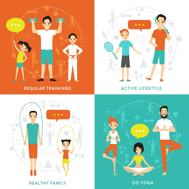 Healthy family flat concept Free Vector