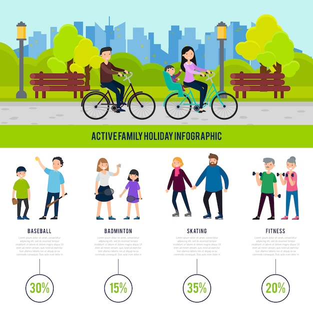 Healthy family infographic concept Free Vector