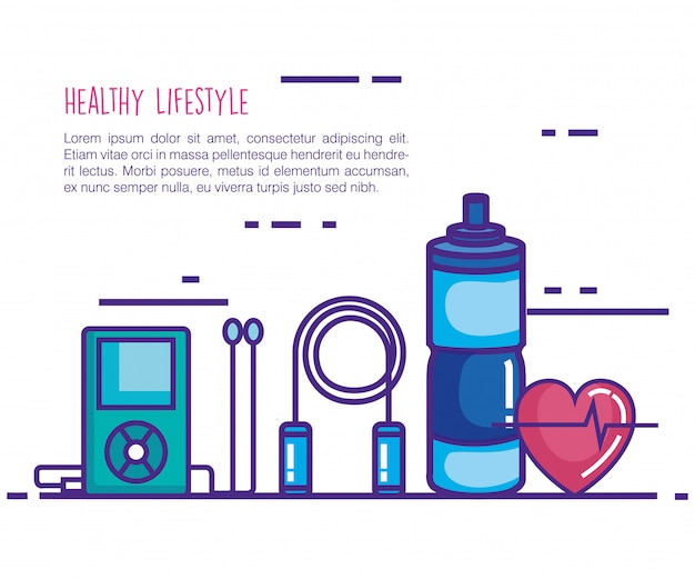 Healthy and fitness lifestyle set icons Free Vector