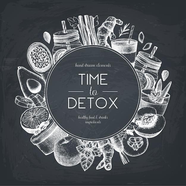 Здоровая еда и напитки дизайн на доске. фон с рисованной овощи, фрукты, травы, орехи эскизы. шаблон идеи летняя диета. Premium векторы
