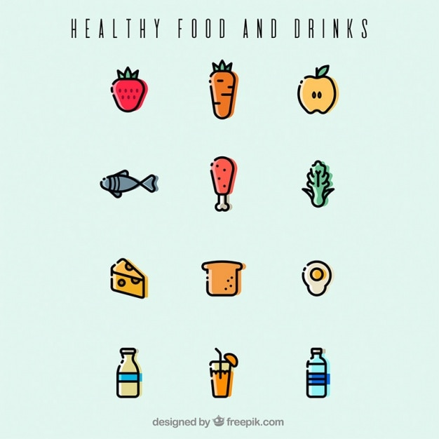 Healthy food and drinks in minimalist style