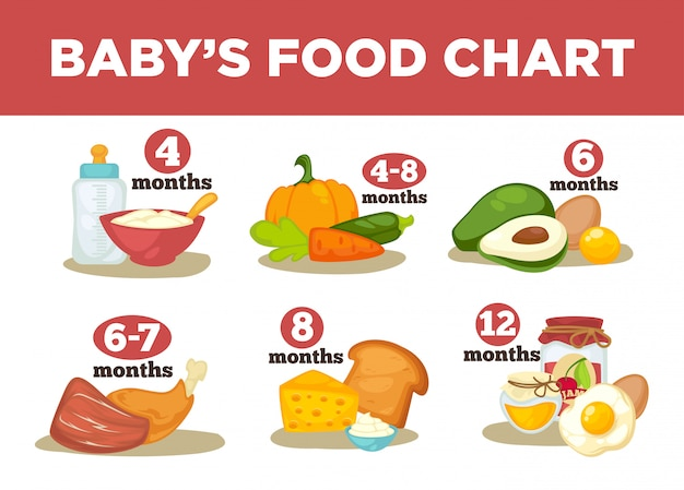 Healthy food for babies in different age. Premium Vector