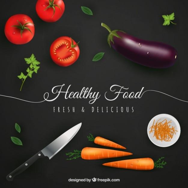 Здоровый фон еда в реалистическом стиле Бесплатные векторы