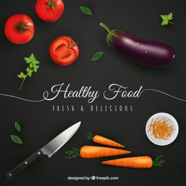 Healthy food background in realistic style Free Vector