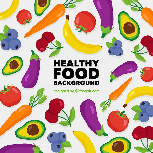Healthy food background with flat design Free Vector