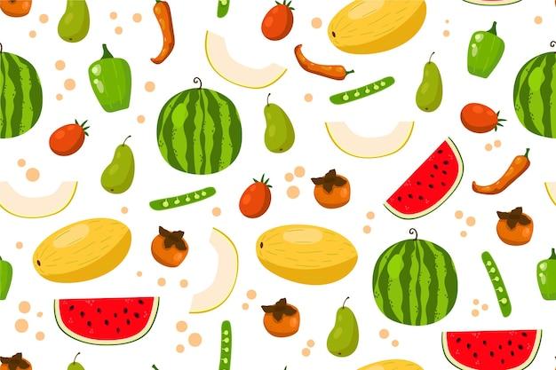 Здоровая пища фон с фруктами и овощами Бесплатные векторы