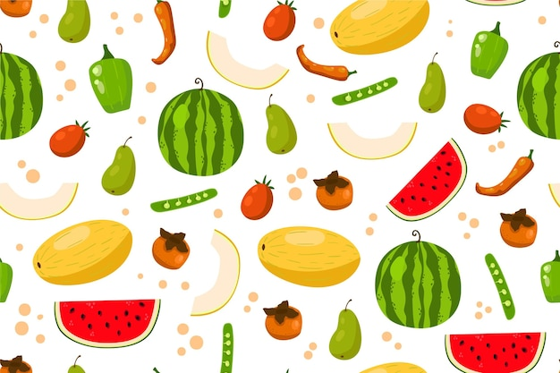 Healthy food background with fruits and vegetables Free Vector