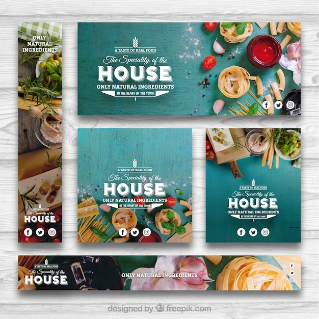 Healthy food banner set Free Vector