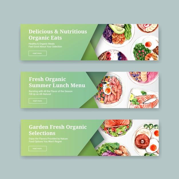 Healthy food banner template design for voucher, advertisement watercolor Free Vector