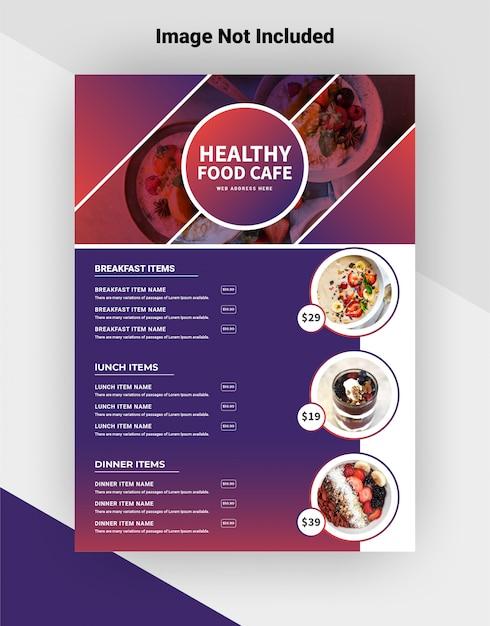 Здоровая еда кафе флаер шаблон. Бесплатные векторы
