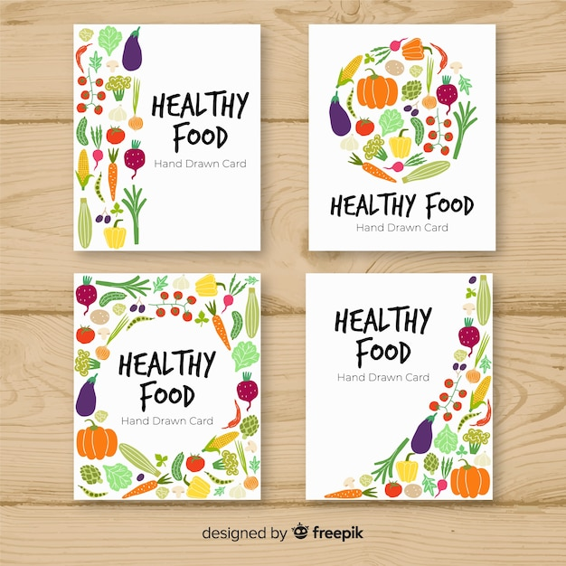Healthy food card collection Free Vector