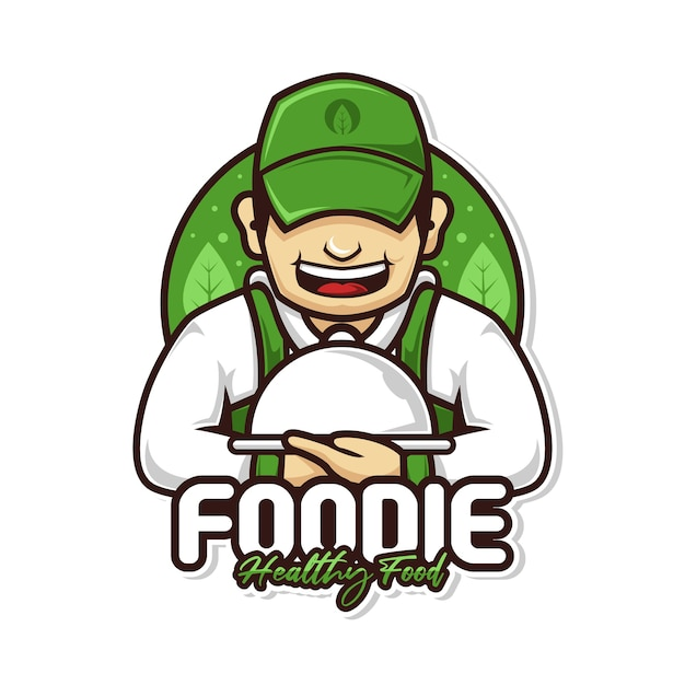 Healthy food chef man with dish cover mascot logo Premium Vector