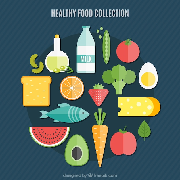 Healthy food collection in flat design