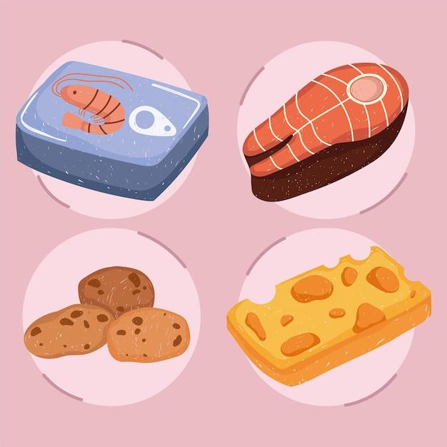 Здоровая пища, рыбный стейк, бисквит, сыр и консервированные креветки, иллюстрация Premium векторы