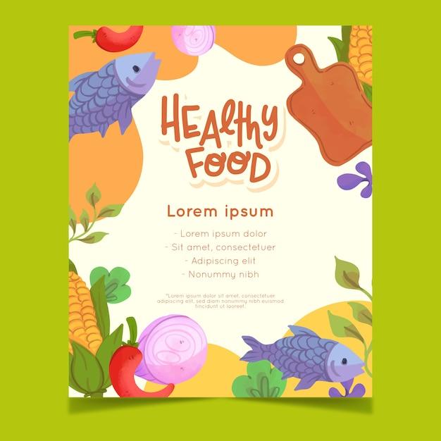 Стиль флаера здоровой пищи Бесплатные векторы
