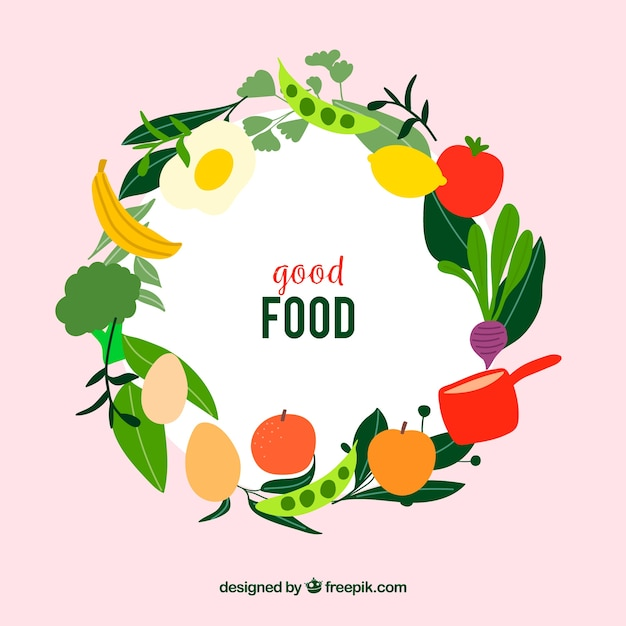 Healthy food frame with flat design Free Vector