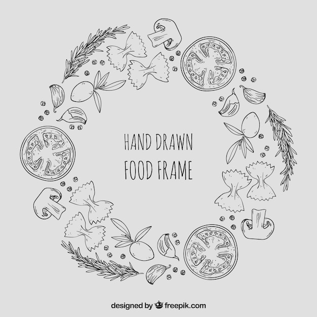 Healthy food frame with hand drawn style Free Vector