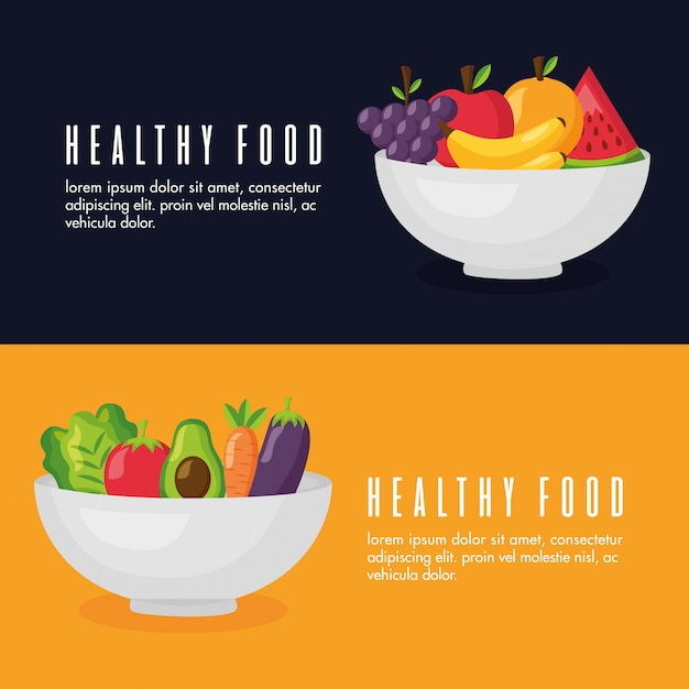 Healthy food fresh banner set Free Vector
