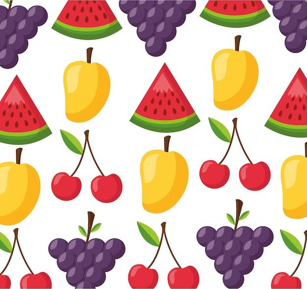Healthy food fresh pattern Free Vector