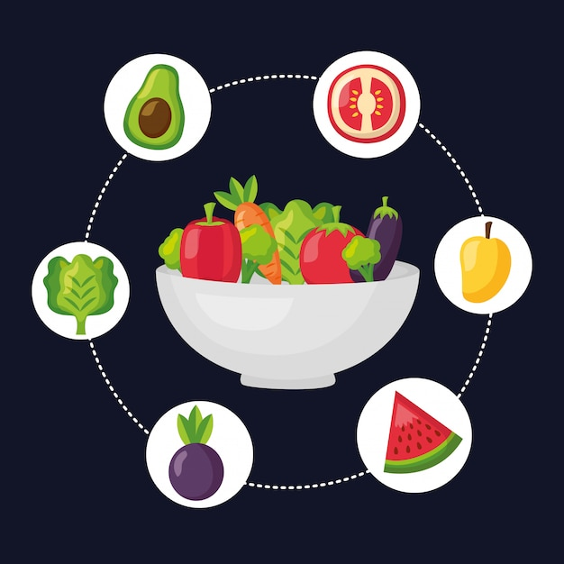 Healthy food fresh Free Vector