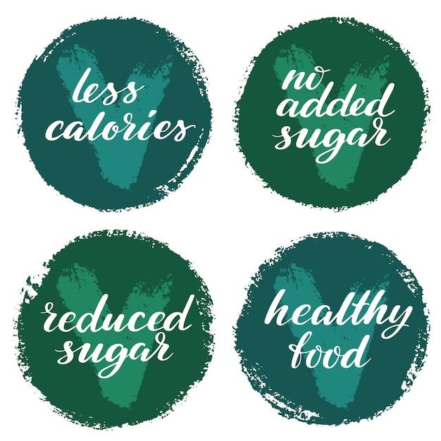 Набор меток здоровой пищи. продукт этикетки или наклейки. Premium векторы