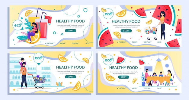 Healthy food landing page set for shopping online Premium Vector