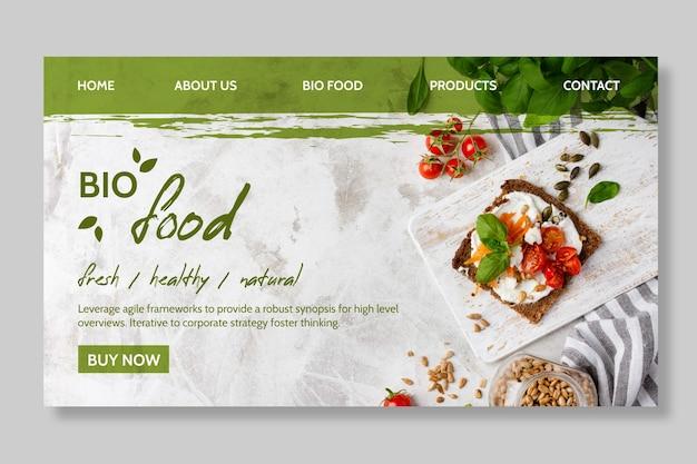 Шаблон целевой страницы здорового питания Бесплатные векторы