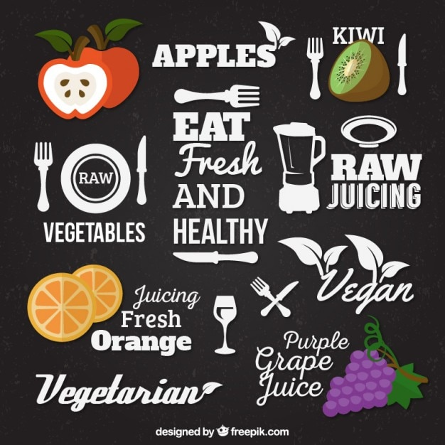 Healthy food lettering vector free download for Cuisine font