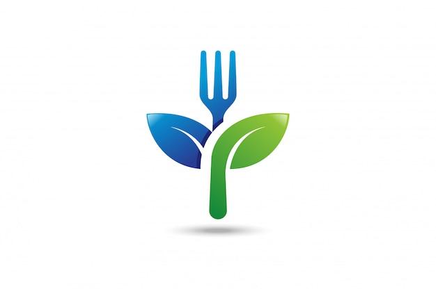Healthy food logo. Premium Vector