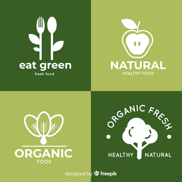 Healthy food logos Free Vector