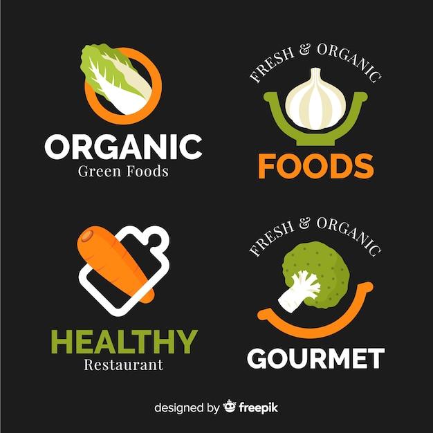 Healthy food logos Free Vector
