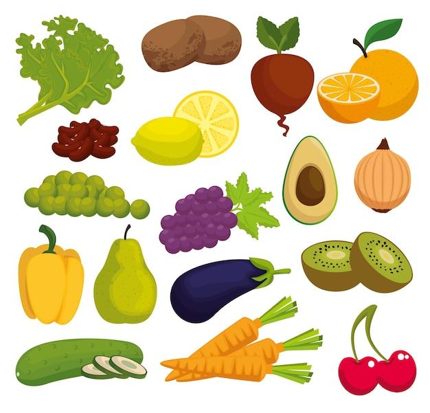 Healthy food menu icons Premium Vector