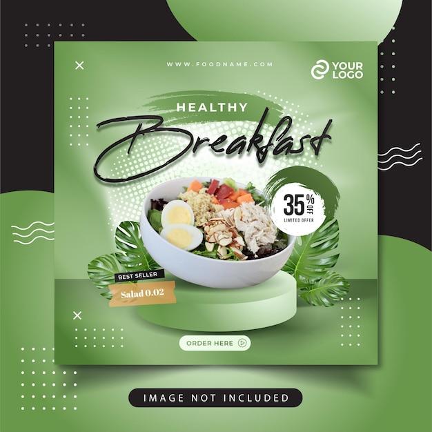 Healthy food menu social media post Free Vector