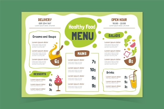 Healthy food menu template Premium Vector