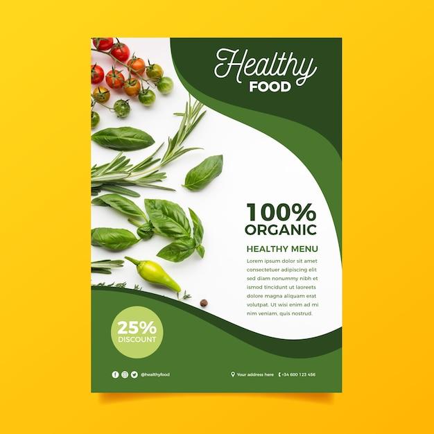 Шаблон меню здоровой пищи Бесплатные векторы