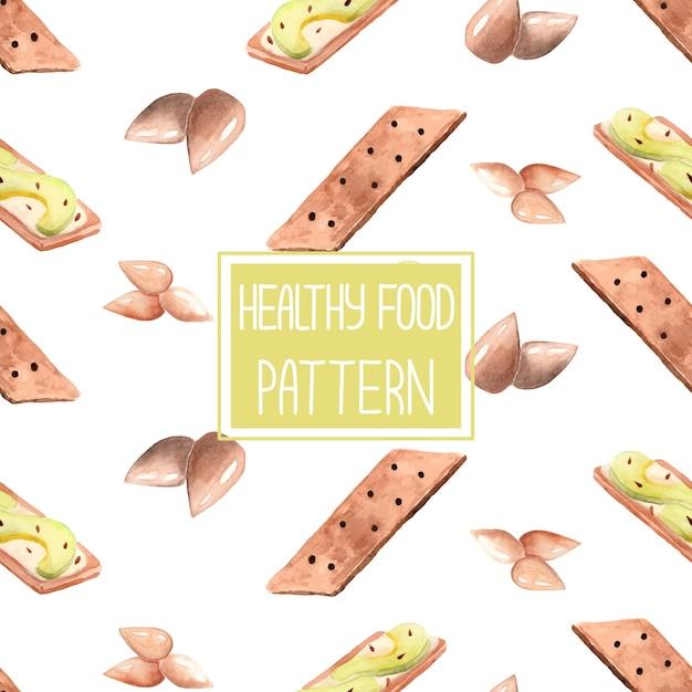 アボカドトーストと健康的な食品パターン Premiumベクター