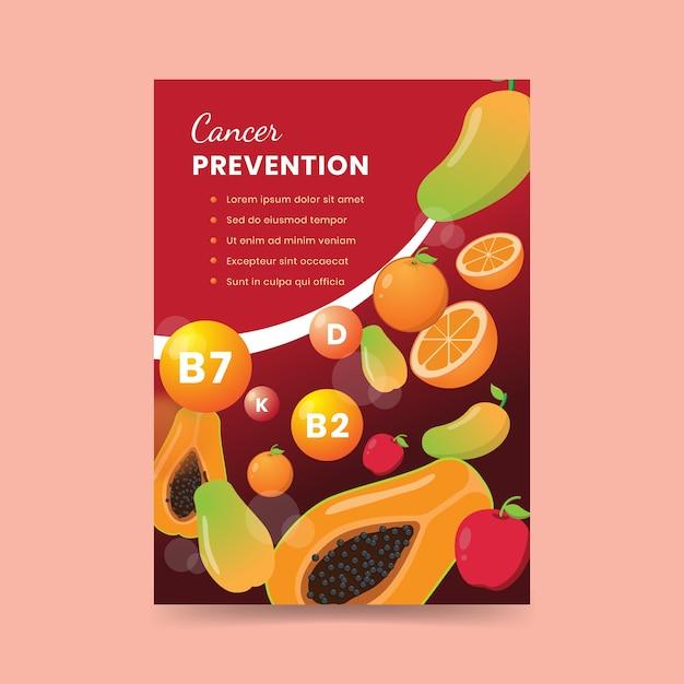 Плакат о здоровой пище для профилактики рака Бесплатные векторы