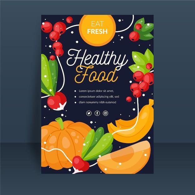 イラストの果物と野菜の健康食品ポスターテンプレート 無料ベクター