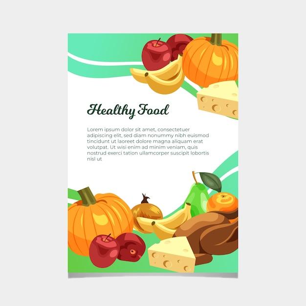 Шаблон плаката здоровой пищи Бесплатные векторы