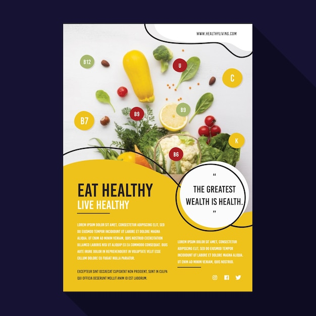 Healthy food poster template Free Vector