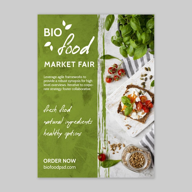 Modello di poster di cibo sano Vettore gratuito