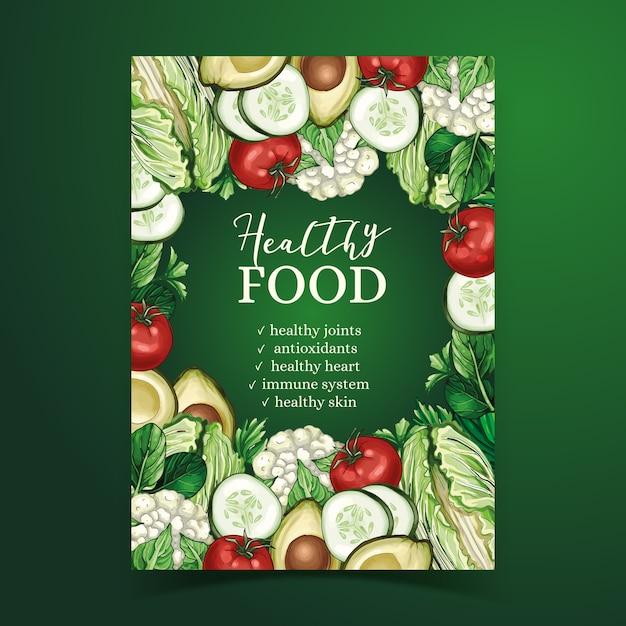Modello del manifesto di cibo sano Vettore gratuito