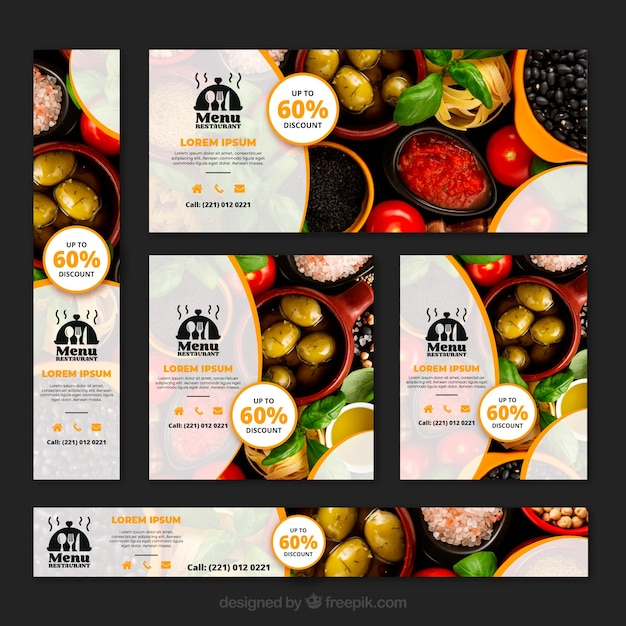Healthy food restaurant banner collection with photos Vector