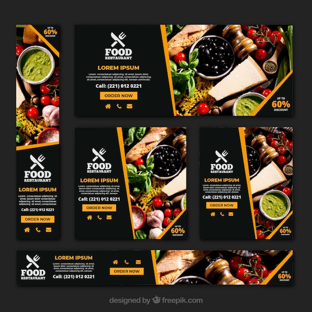 Healthy food restaurant banner collection with\ photos