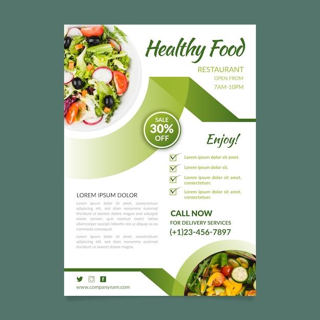 Концепция шаблона флаер ресторан здорового питания Premium векторы