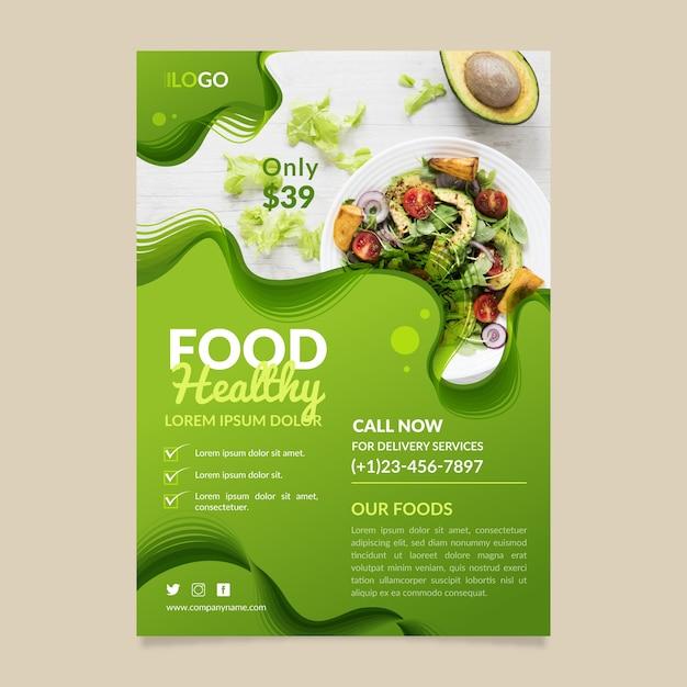 健康食品レストランチラシテンプレートデザイン 無料ベクター