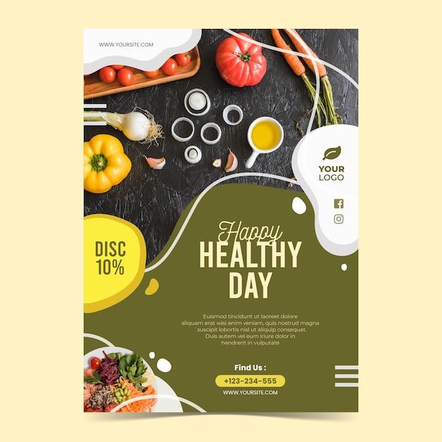 Флаер-шаблон ресторана здорового питания с фото Бесплатные векторы