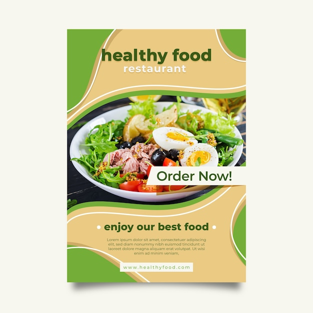 Healthy food restaurant flyer template with photo Free Vector