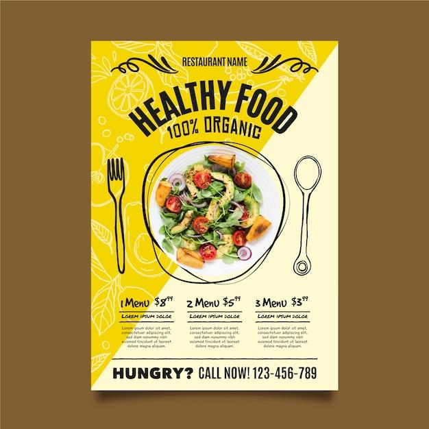 Шаблон флаера ресторана здорового питания Бесплатные векторы
